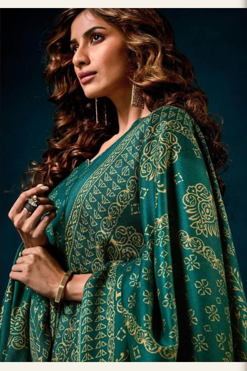 Beautiful Designer Pashmina Salwar Suit In Sea Green Colour