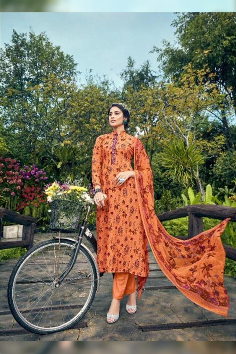 Digital Printed Pure Pashmina with Embroidery Work Dress In Deep Orange Colour