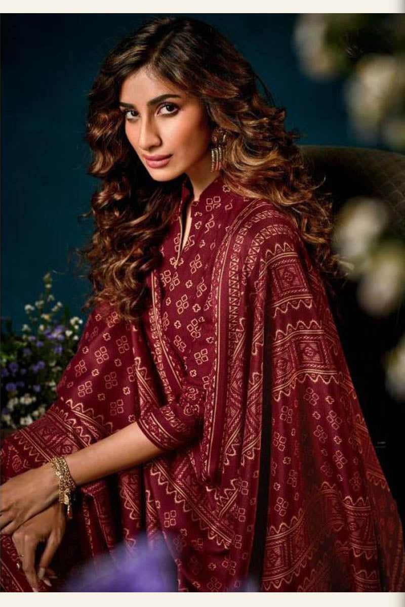 Beautiful Designer Pashmina Salwar Suit In Maroon Colour