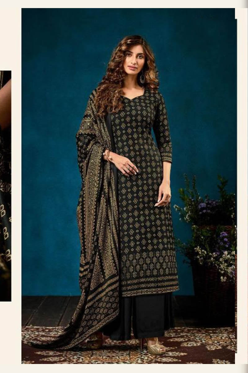 Beautiful Designer Pashmina Salwar Suit In Black Colour