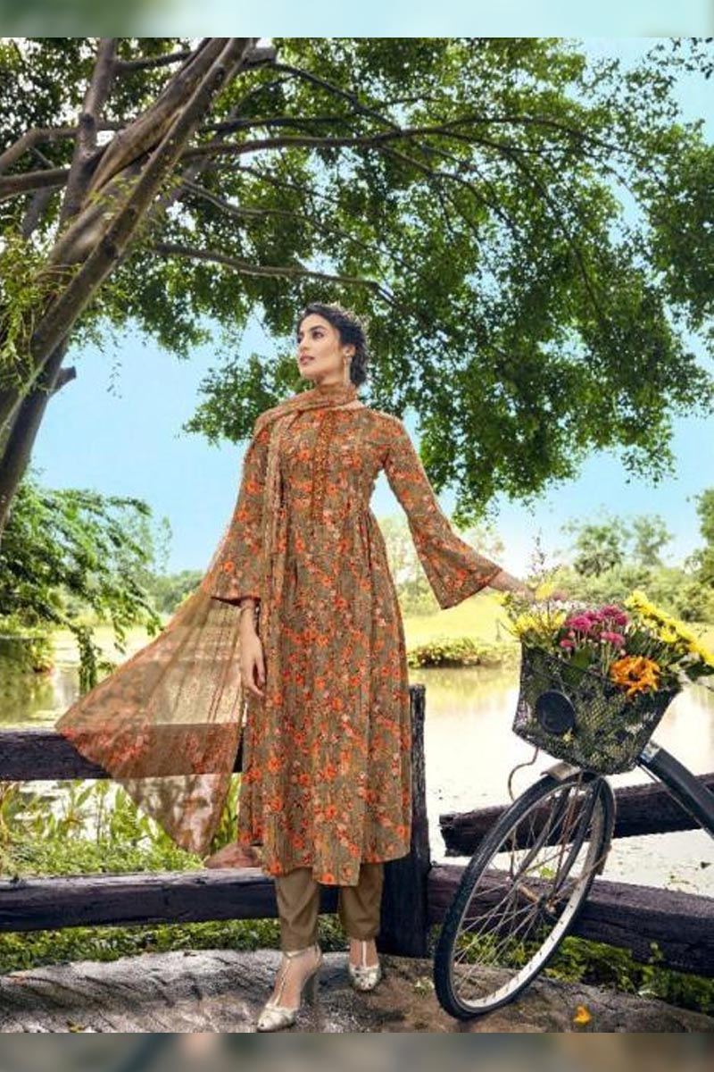 Digital Printed Pure Pashmina with Embroidery Work Dress In Dark Brown Colour