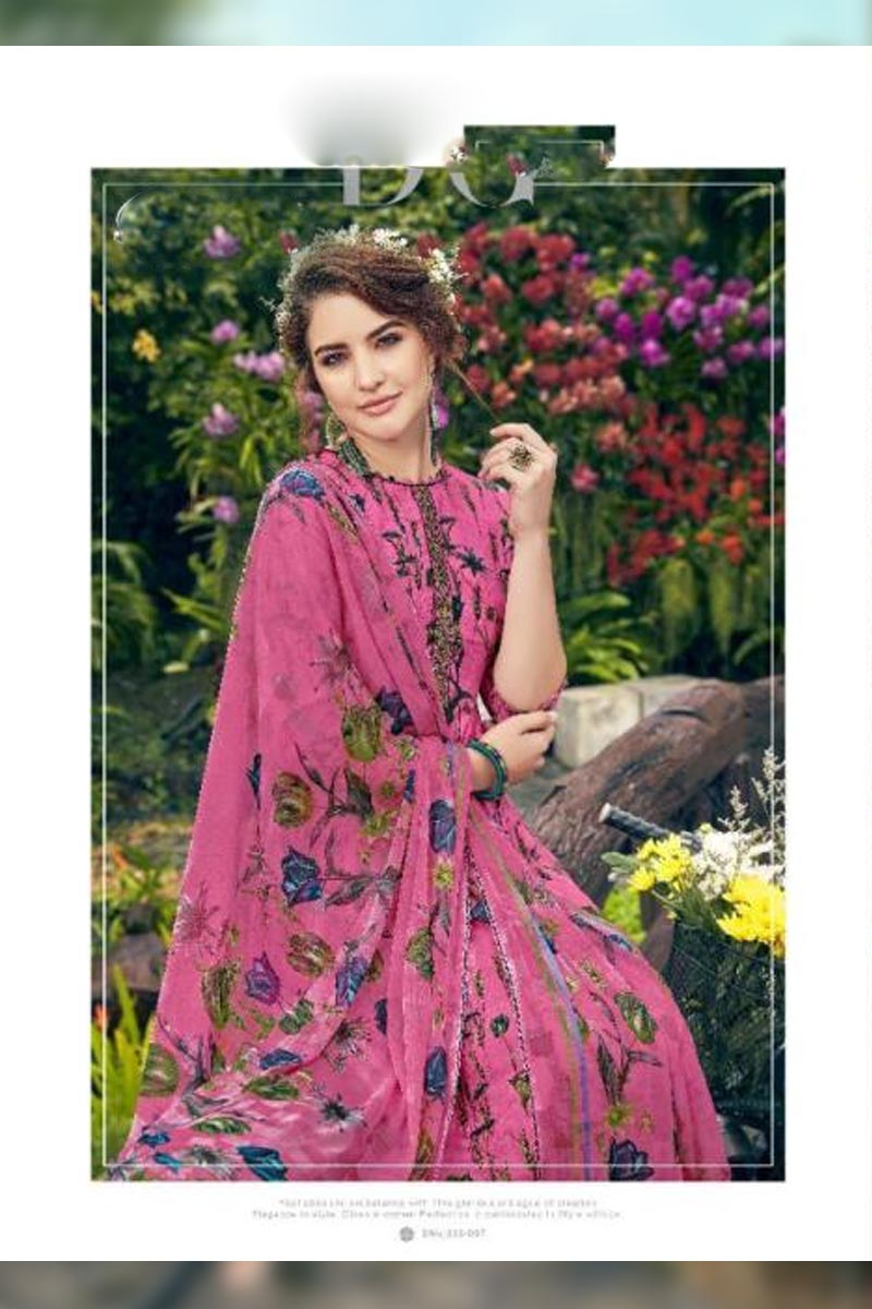 Digital Printed Pure Pashmina with Embroidery Work Dress In Dark Pink Colour