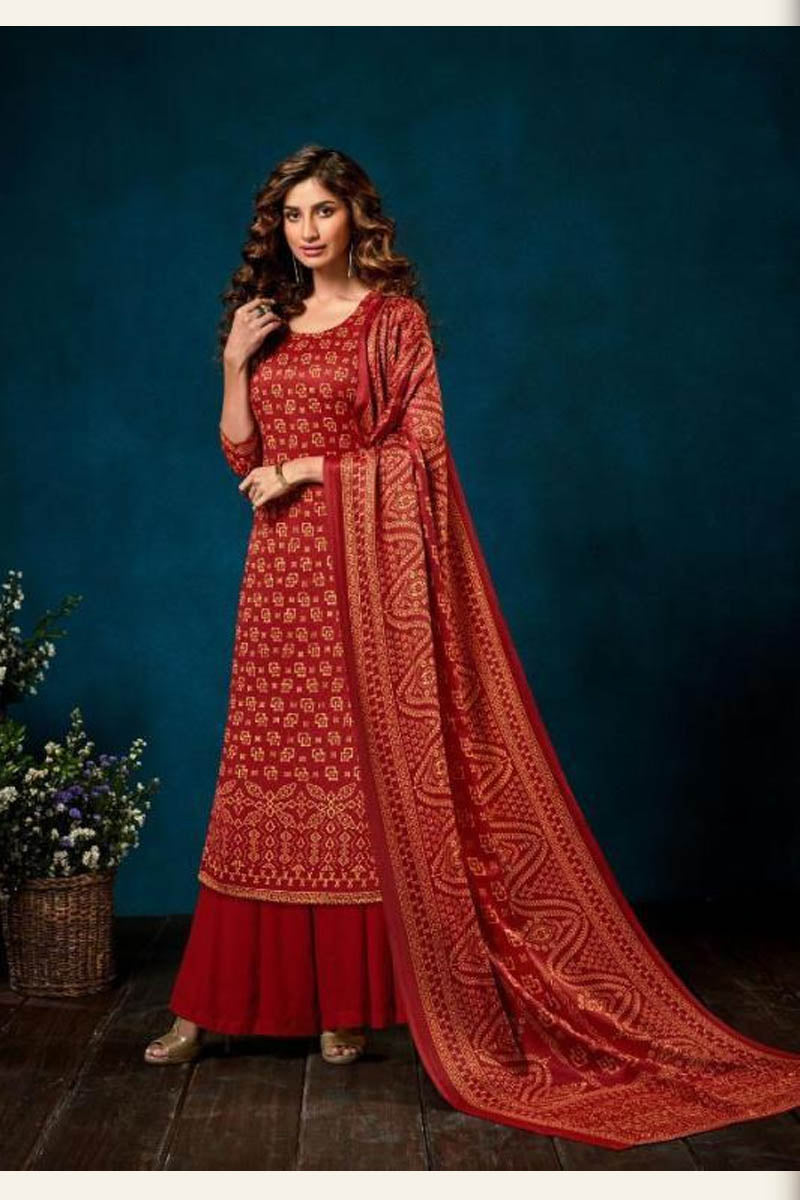 Beautiful Designer Pashmina Salwar Suit In Red Colour