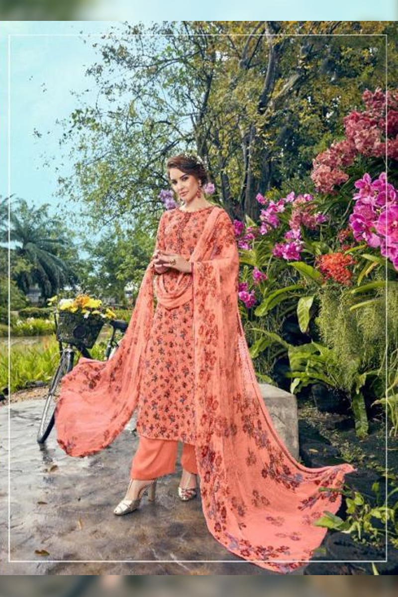 Digital Printed Pure Pashmina with Embroidery Work Dress In Peach Colour