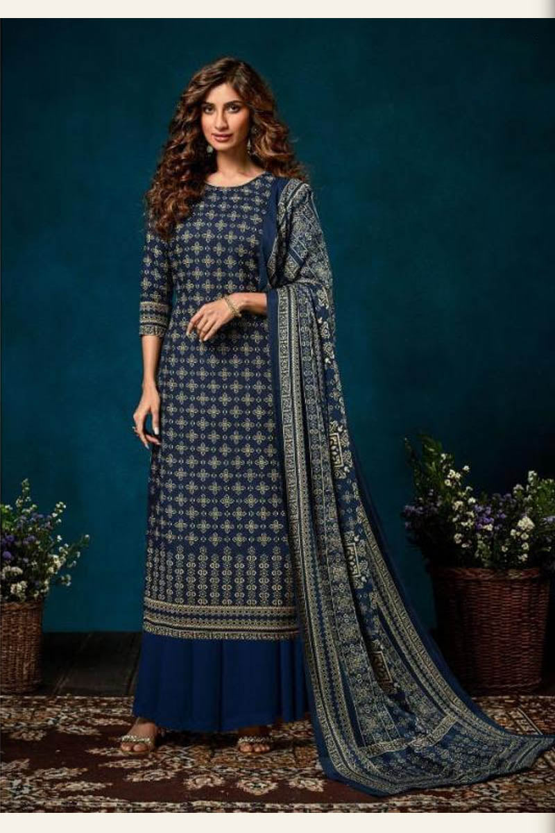 Beautiful Designer Pashmina Salwar Suit In Drak Blue Colour