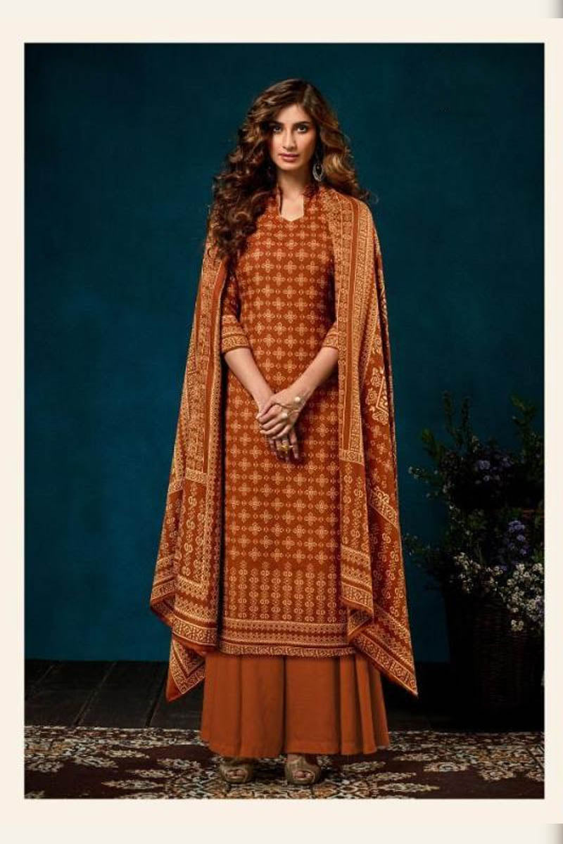 Beautiful Designer Pashmina Salwar Suit In Orange Colour