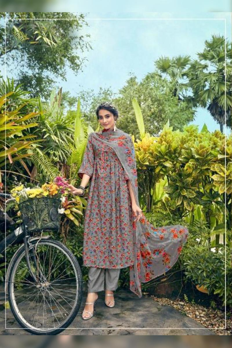 Digital Printed Pure Pashmina with Embroidery Work Dress In Dark Grey Colour