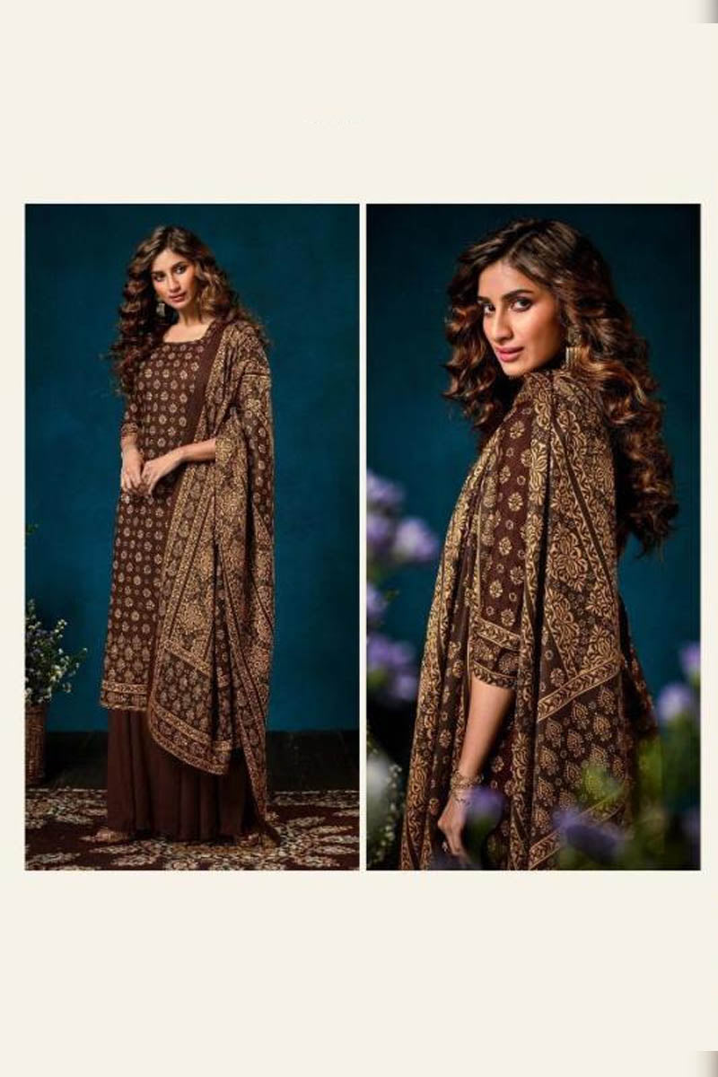 Beautiful Designer Pashmina Salwar Suit In Brown Colour