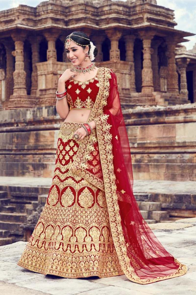 Maroon Colour Velvet Designer Lehenga Choli for a Special Day !