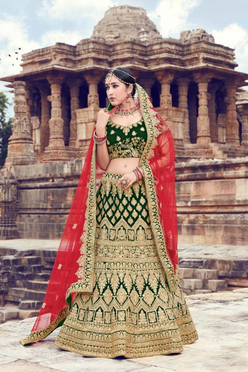 Green Colour Velvet Designer Lehenga Choli for a Special Day !