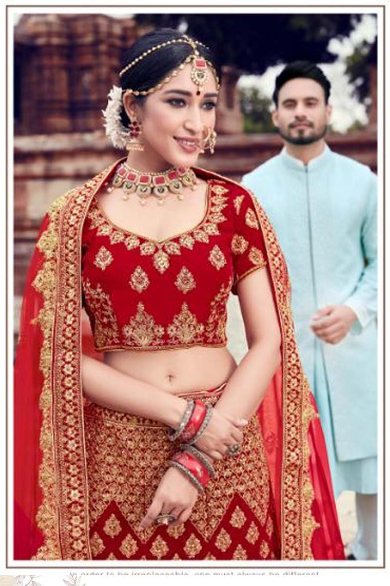 Red Colour Velvet Designer Lehenga Choli for a Special Day !