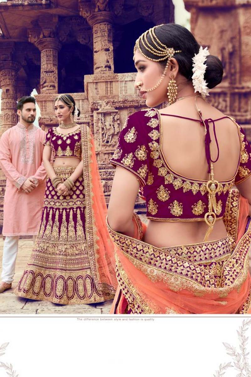 Wine Colour Velvet Designer Lehenga Choli for a Special Day !