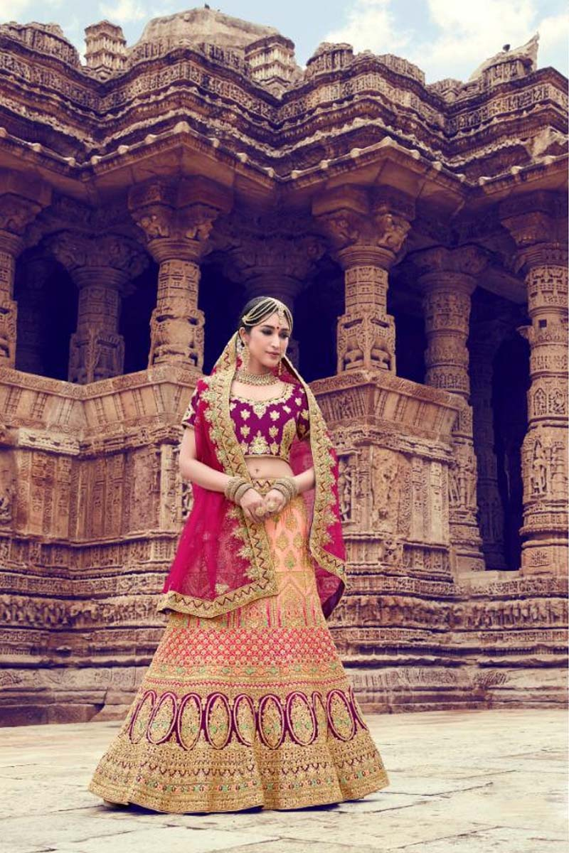 Peach and Wine Colour Velvet Designer Lehenga Choli for a Special Day !