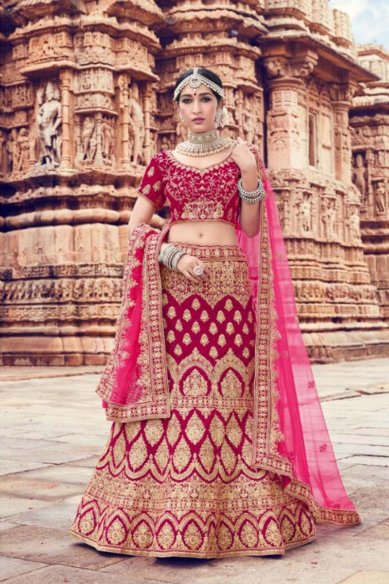Fuchsia Pink Colour Velvet Designer Lehenga Choli for a Special Day !