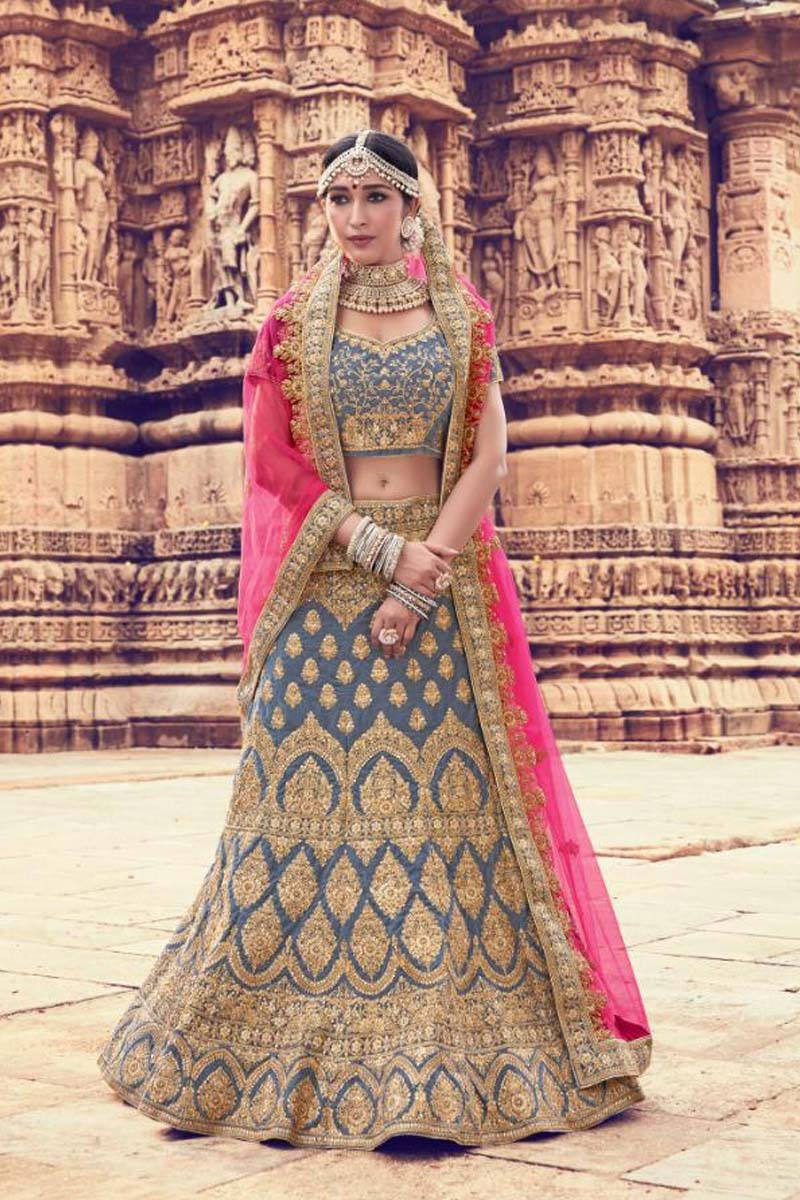Grey Colour Velvet Designer Lehenga Choli for a Special Day !