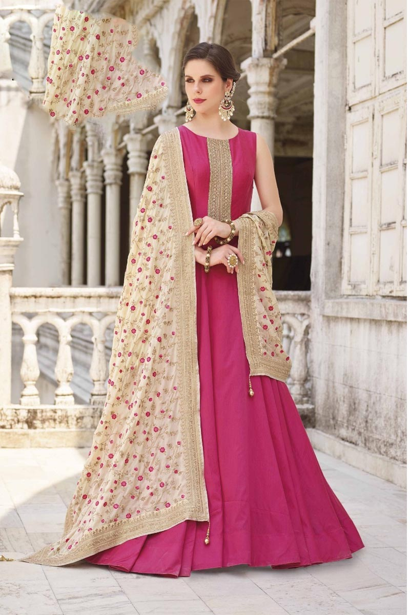 Beautiful Magenta Color Designer Party Wears Soft Silk Gown