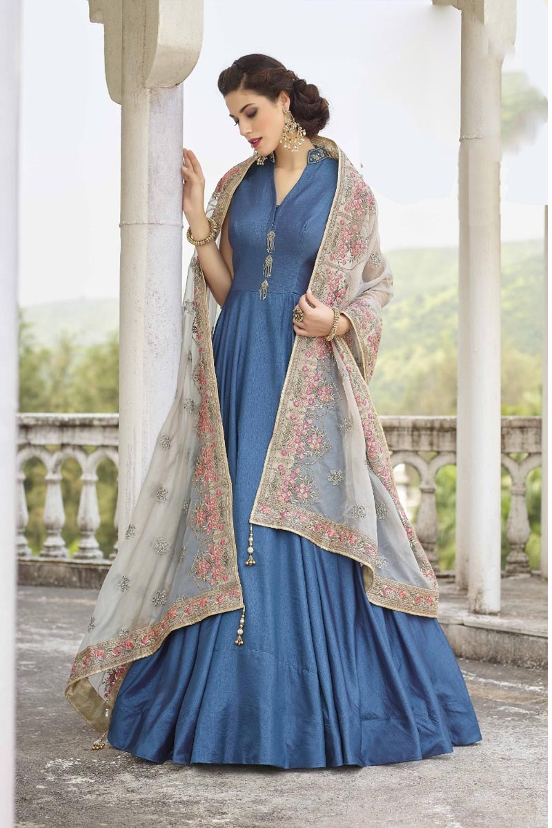 Beautiful Blue Color Designer Party Wears Soft Silk Gown