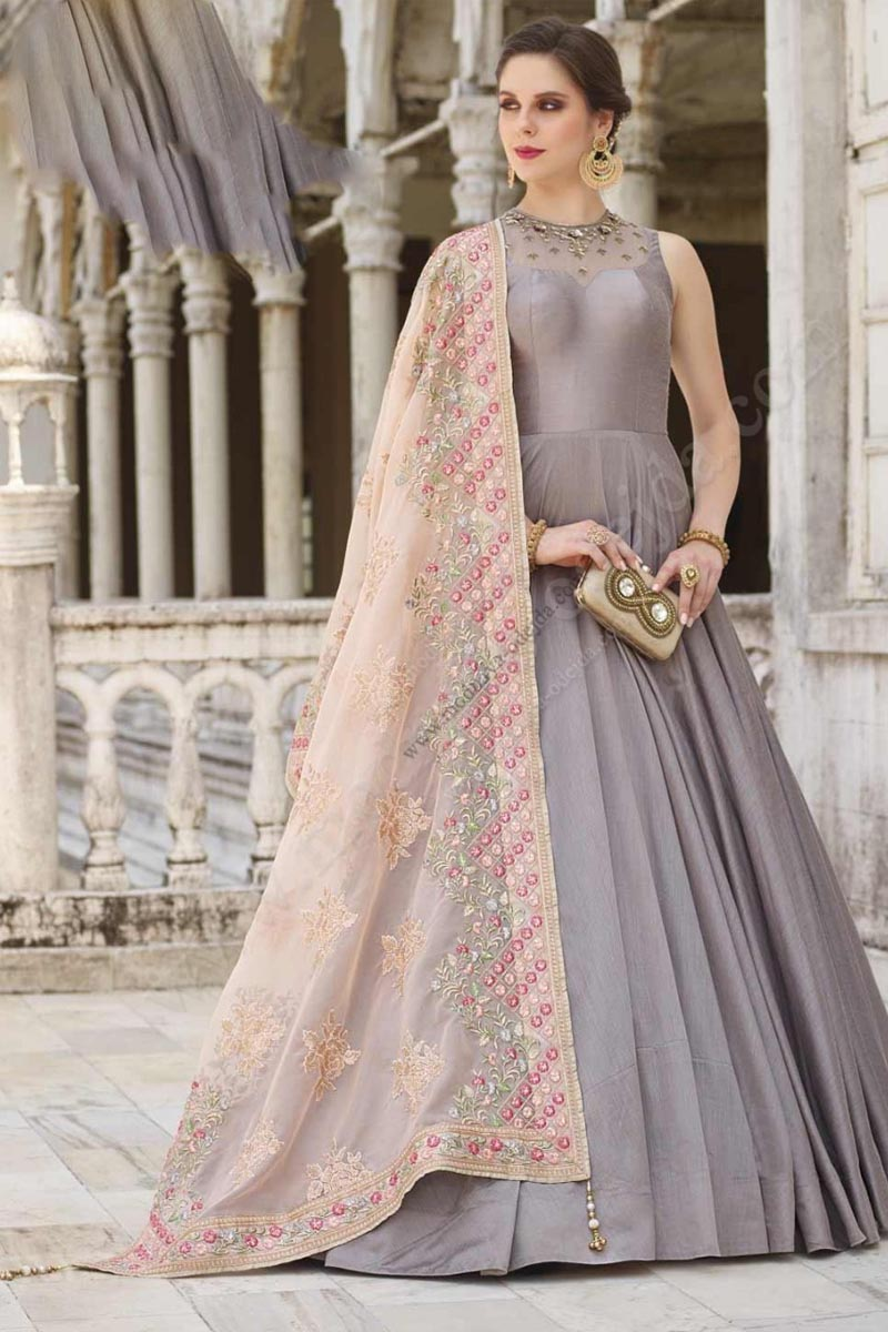 Beautiful Grey Color Designer Party Wears Soft Silk Gown