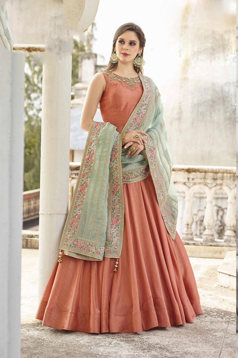 Beautiful Dark Peach Color Designer Party Wears Soft Silk Gown