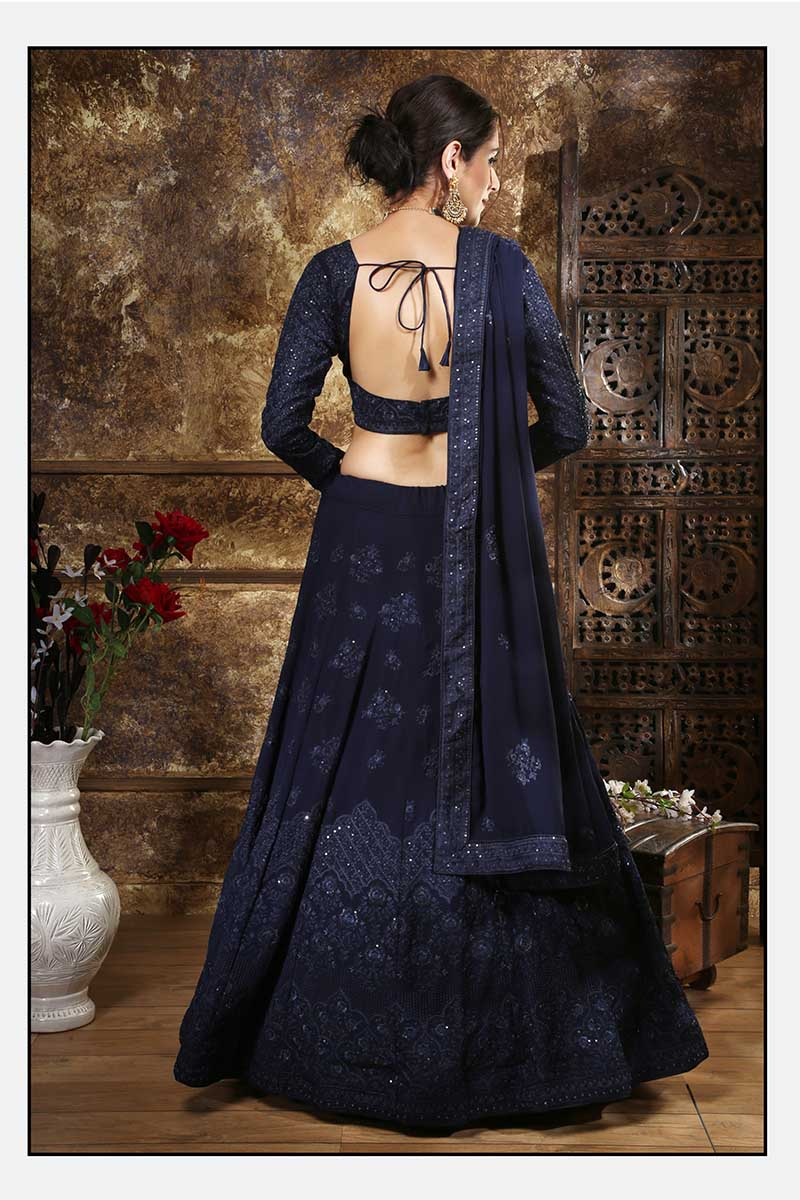New Designer Bridal Lehenga Choli In Navy Blue Colour