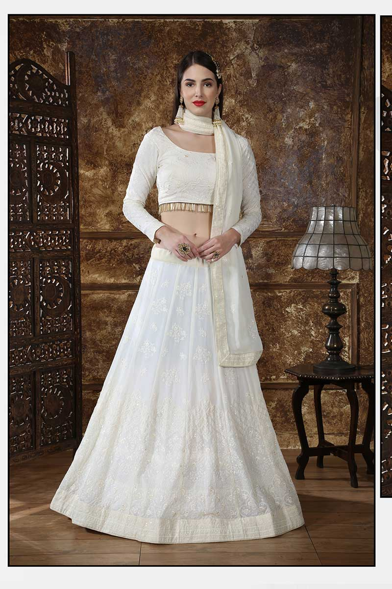 New Designer Bridal Lehenga Choli In OffWhite Colour