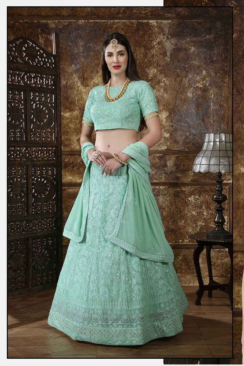New Designer Bridal Lehenga Choli In Mint Green Colour