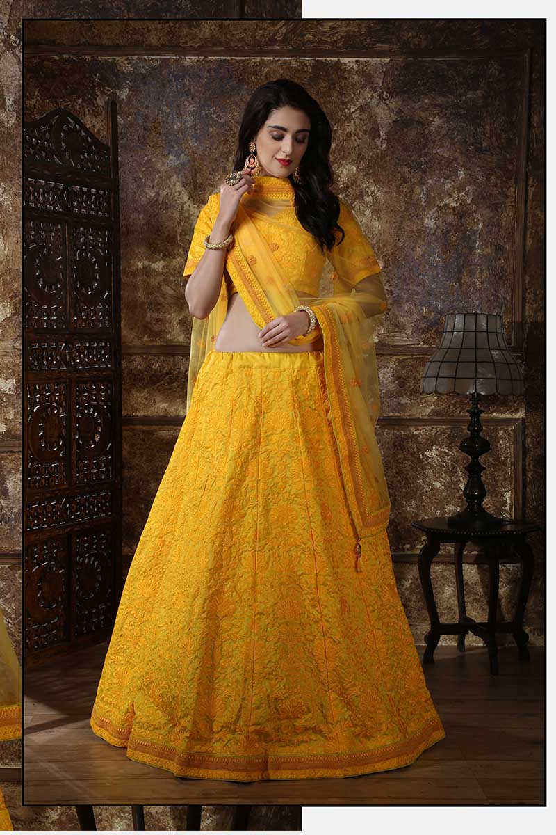 New Designer Bridal Lehenga Choli In Yellow Colour
