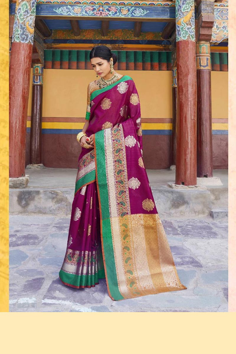 New Collection Of Karuna Silk Saree In Purple Colour