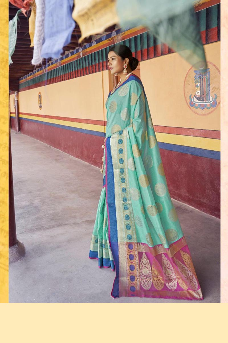 New Collection Of Karuna Silk Saree In Sky Blue Colour
