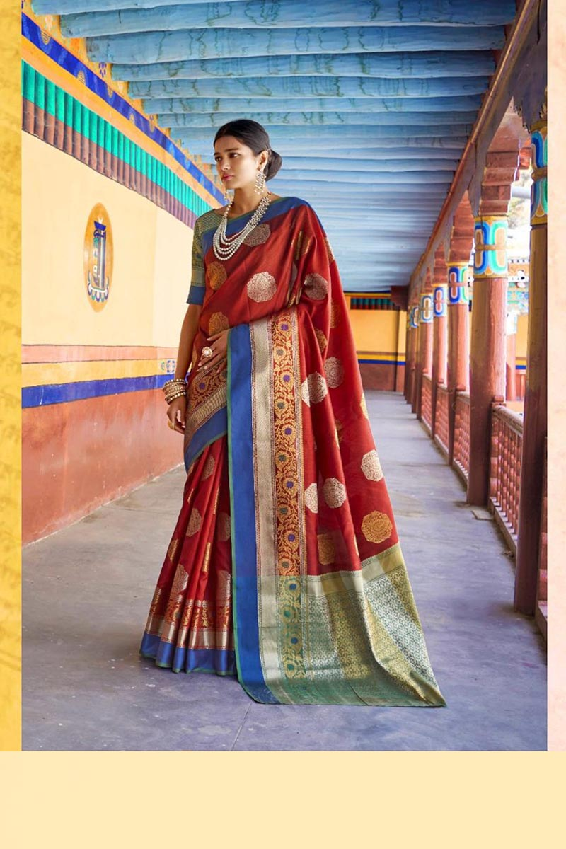 New Collection Of Karuna Silk Saree In Red Colour