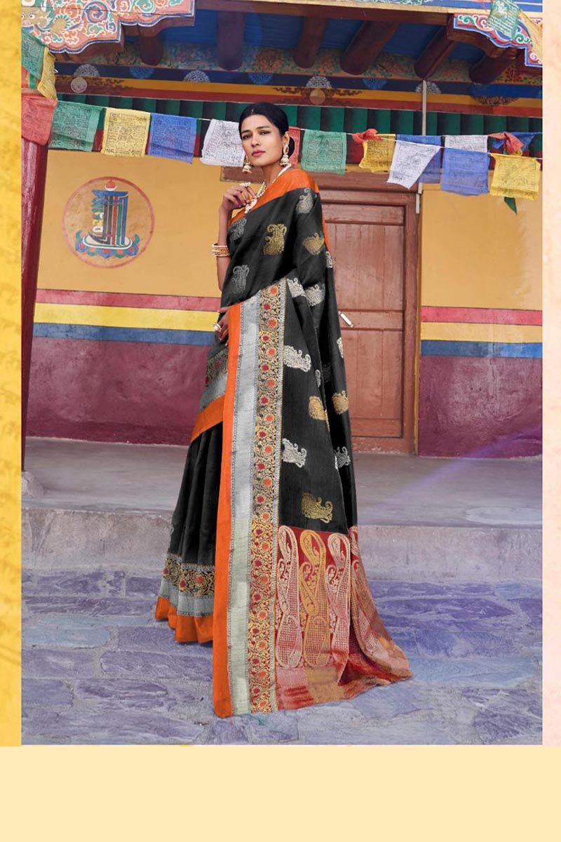 New Collection Of Karuna Silk Saree In Black Colour