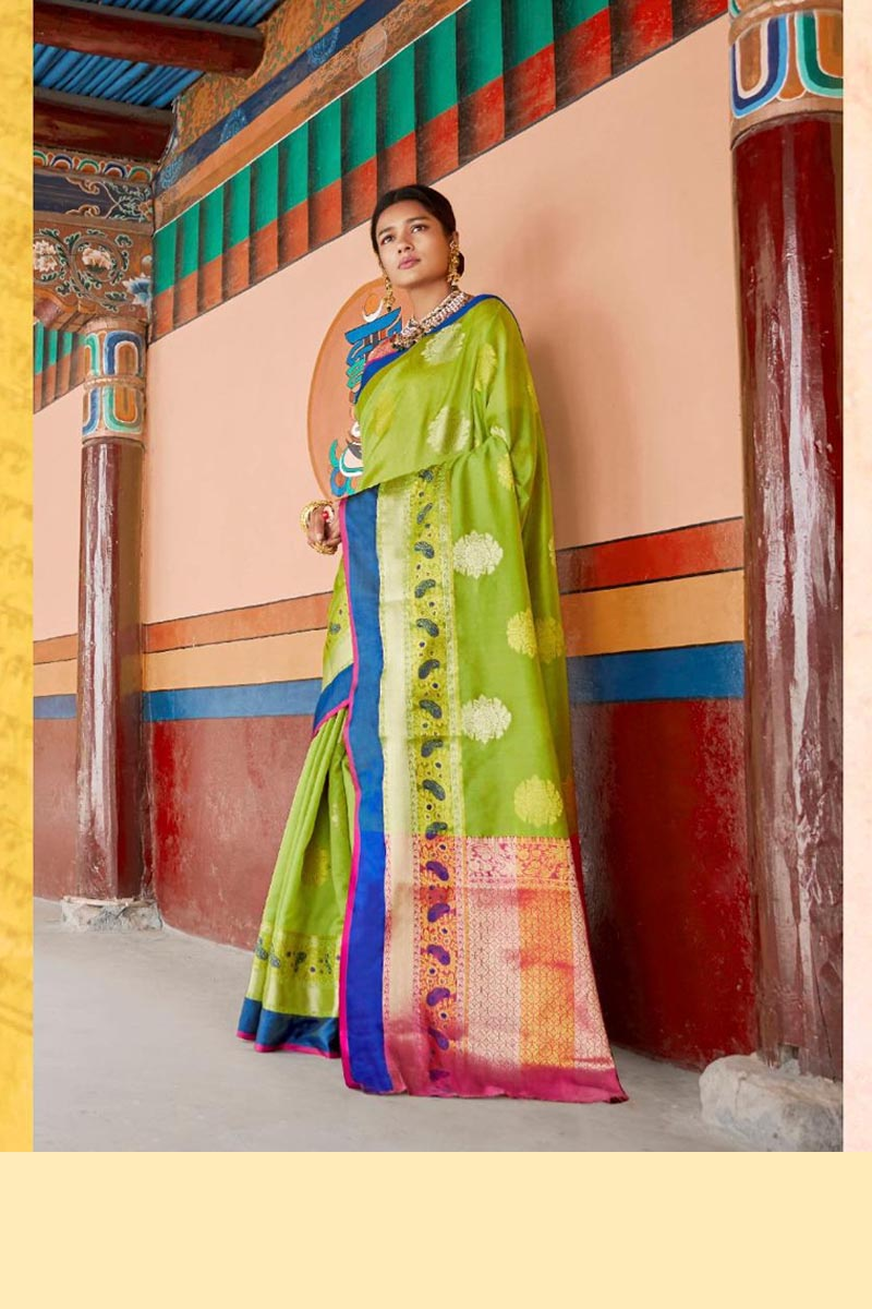 New Collection Of Karuna Silk Saree In Light Green Colour