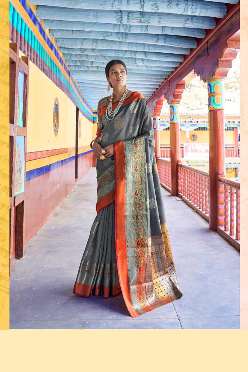 New Collection Of Karuna Silk Saree In Grey Colour