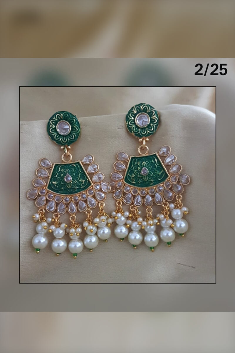 Atrractive Pearls and Stones Party Wear Earrings