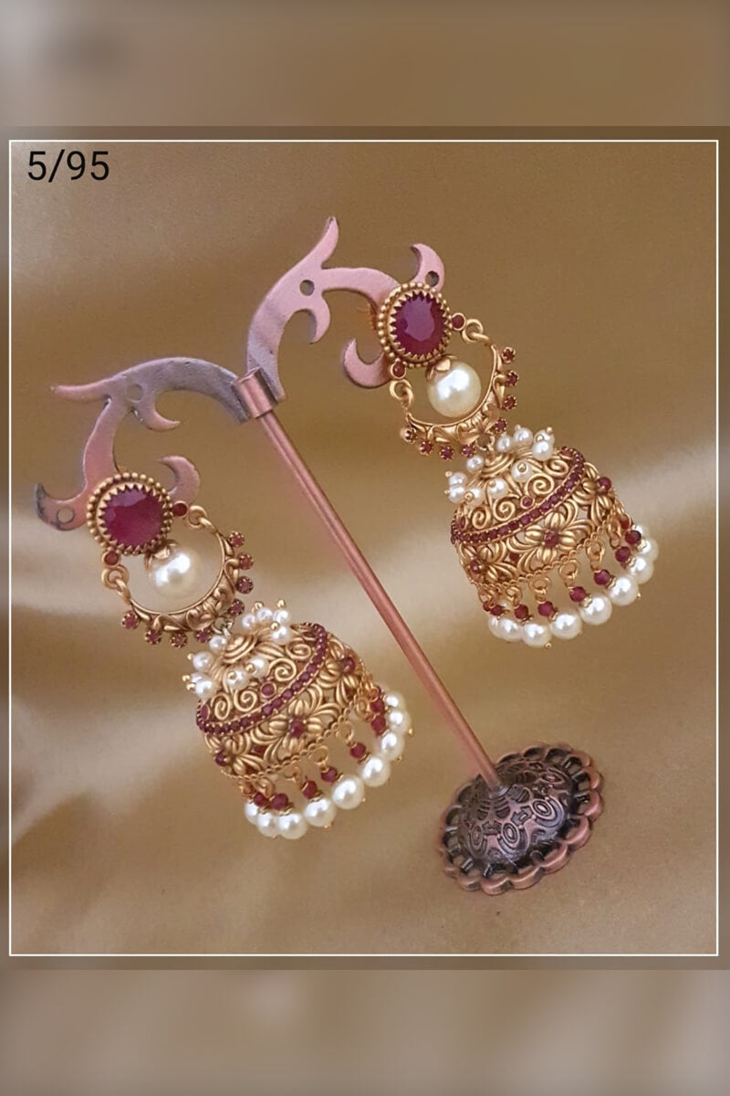 Beautiful Marron Stone With White Pearl Party Wear Earrings