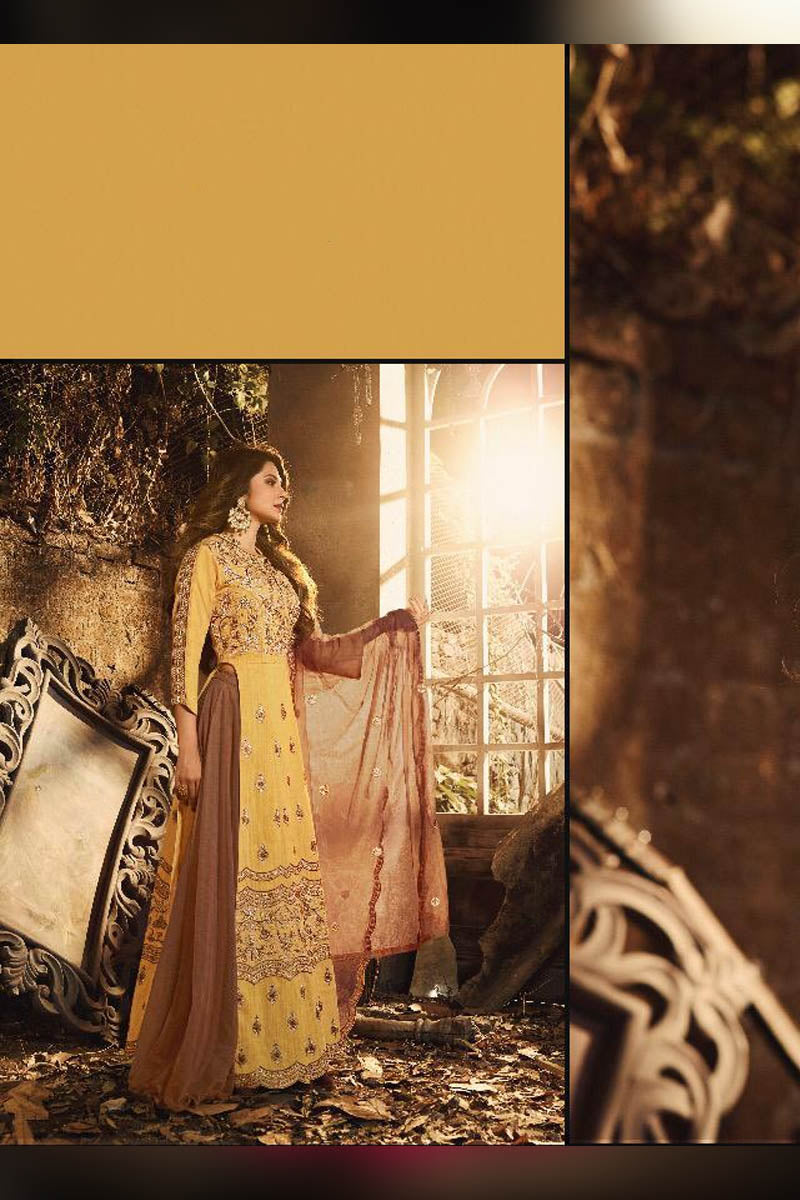 Stunning Yellow Silk Heavy Embroidered Anarkali Salwar Kameez