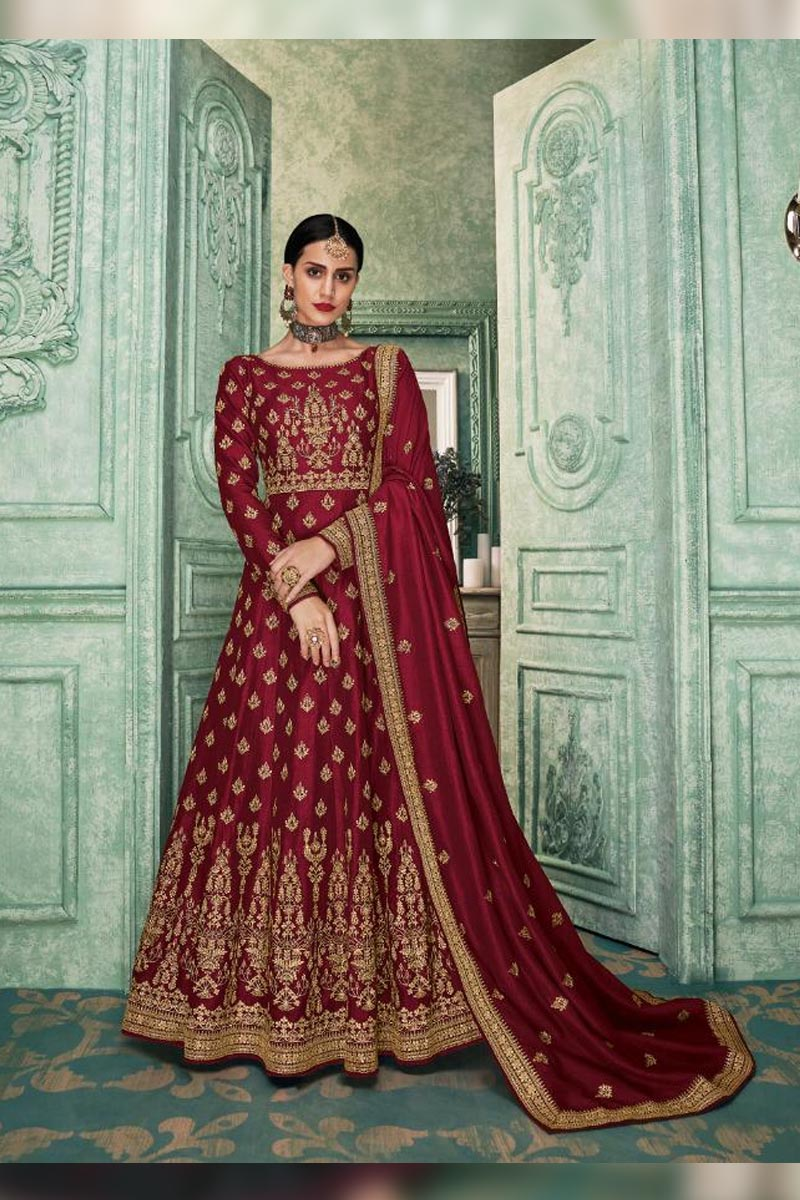 Adorable Maroon Colour Embroidered Salwar Suit.