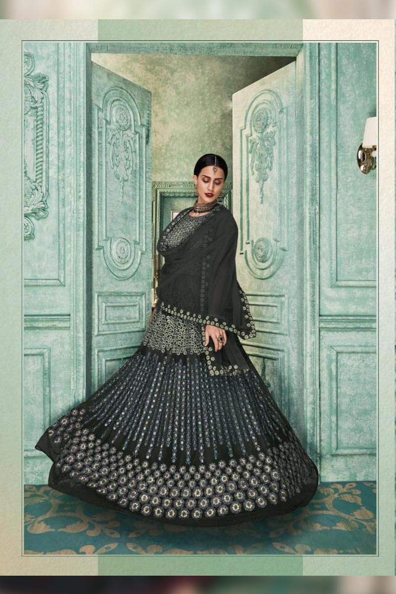 Adorable Charcoal Grey Colour Embroidered Salwar Suits.