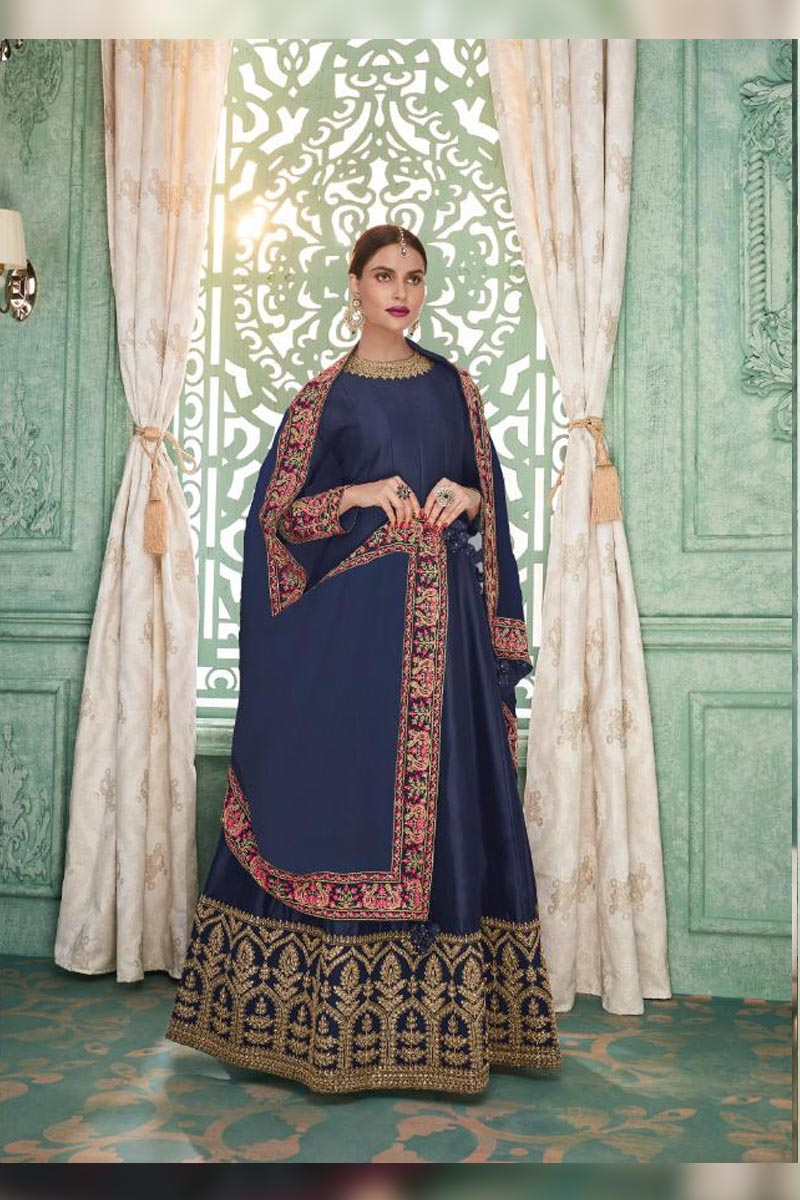 Adorable Navy Blue Colour Embroidered Salwar Suits.