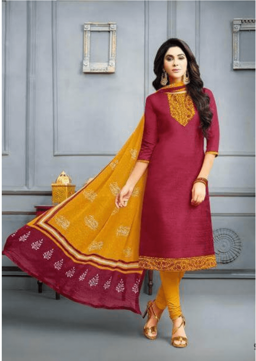 Maroon Elegant Banarasi Cotton Dress