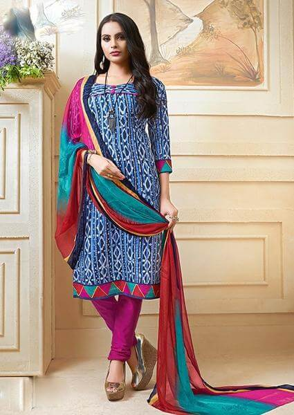 Blue Spun Cotton Dress Material Set