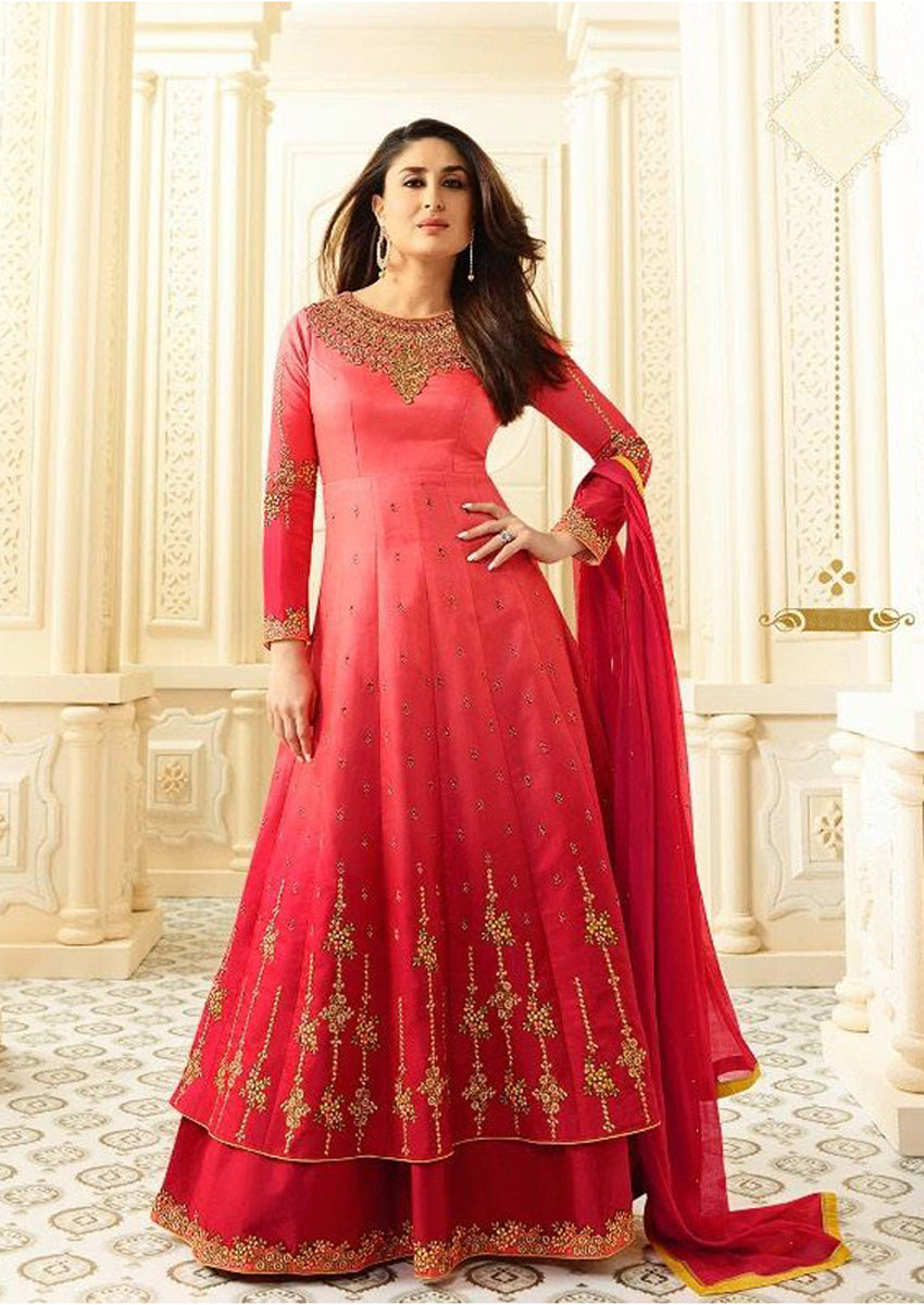 Salmon Red Heavy Embroidered Neckline Suit Set