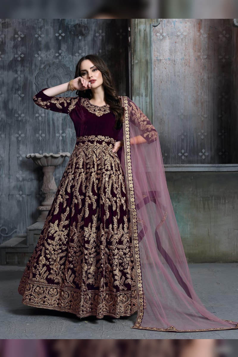 Designer Grape - Velvet Embroidered Salwar Suit