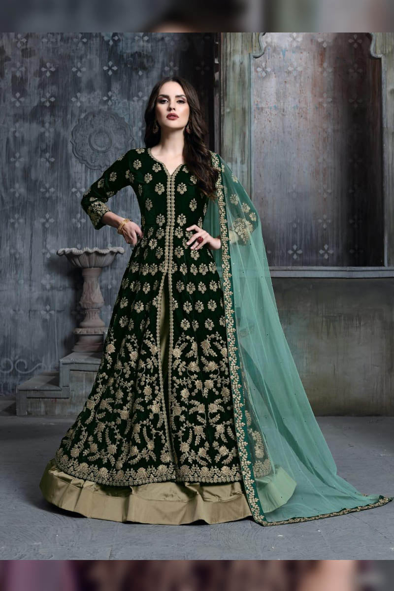 Designer Bottle Green - Velvet Embroidered Salwar Suit