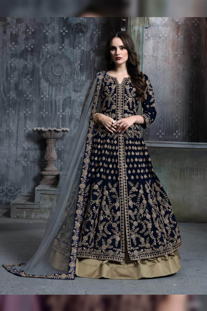 Designer Dark Blue - Velvet Embroidered Salwar Suit