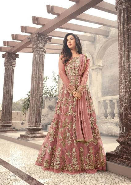Lt Hibiscus Allover Embroidered Suit Set