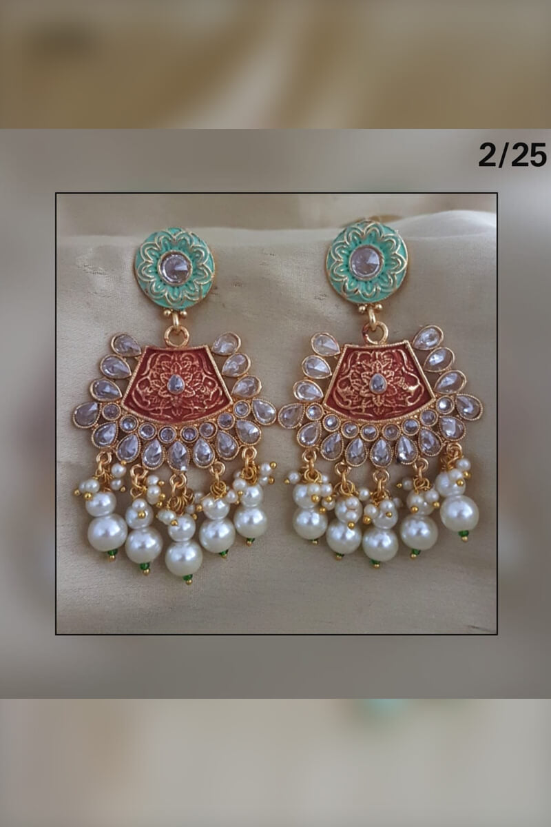 Traditional Women's Pearls and Stones Party Wear Earrings
