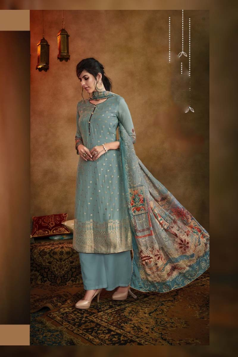 Party Wear Muslin Dress Material Collection In Bluish Grey Color