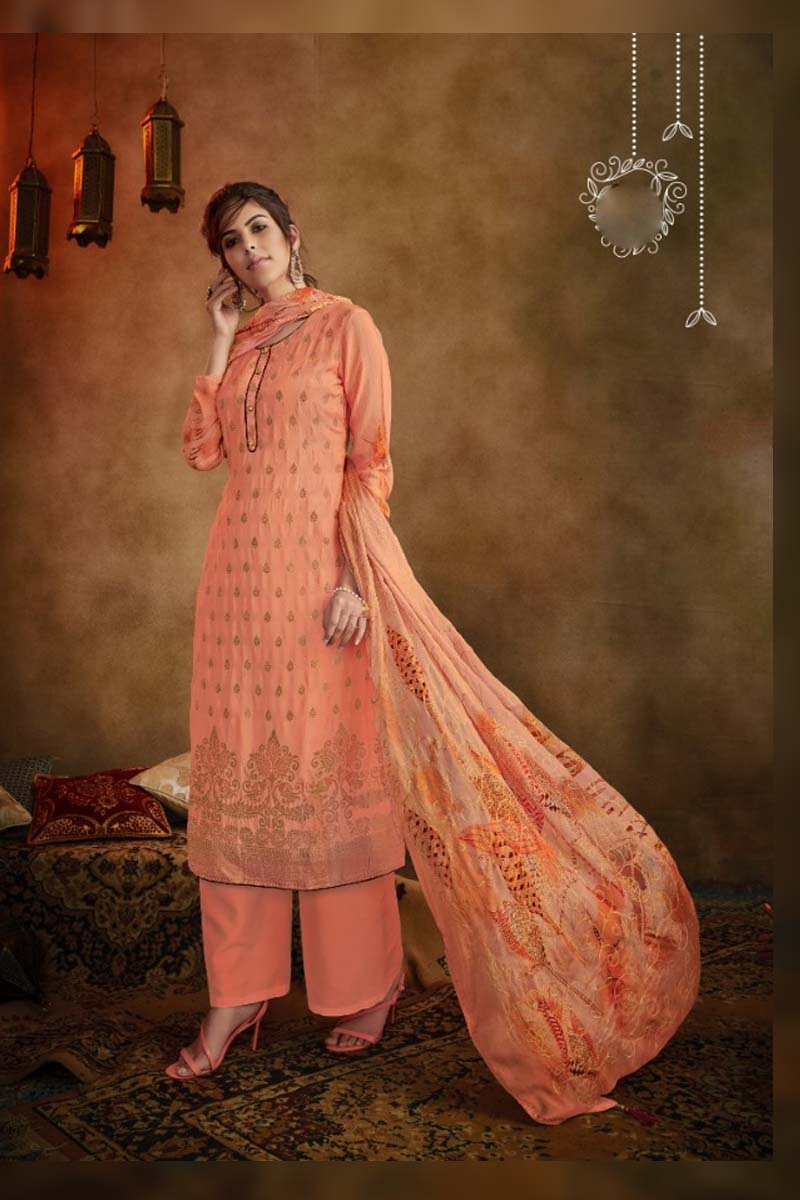 Party Wear Muslin Dress Material Collection In Light Orange Color