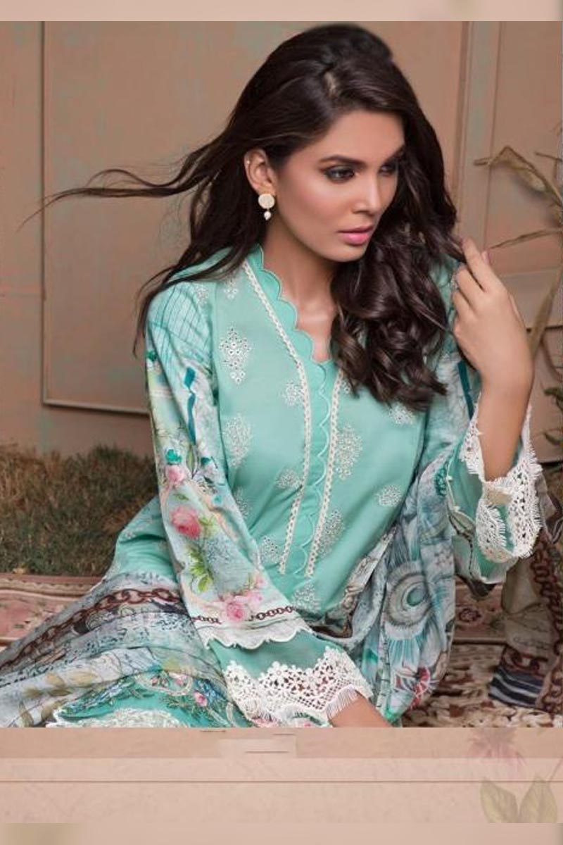 Sky Blue Deepsy Gold Printed Jam Cotton With Self Embroidery Work Salwar Kameez